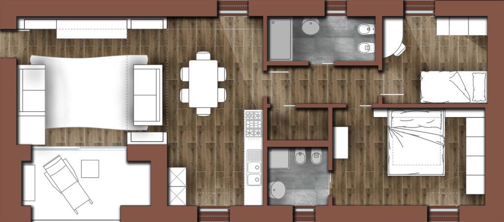 Riadattamento arredo esistente per appartamento Affori