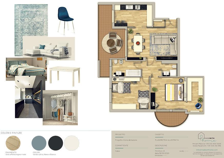 Moodboard planimetria_L'appartamento in Blu di Fabio