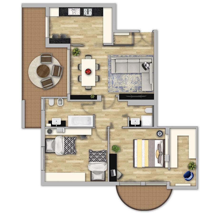 Planimetria illustrata_L'appartamento in Blu di Fabio