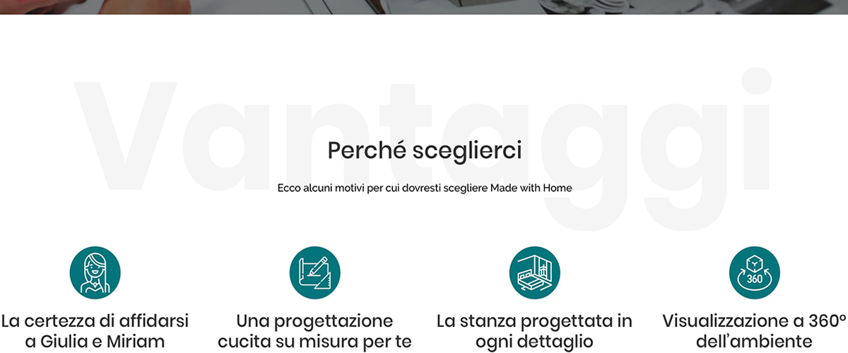 Screenshot da sito web Made with Home