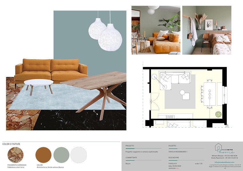 Moodboard soggiorno 1_Il soggiorno e lo studio dai Colori Caldi di Mauro