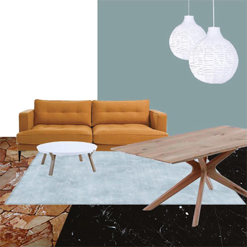 Collage soggiorno 1_Il soggiorno e lo studio dai Colori Caldi di Mauro