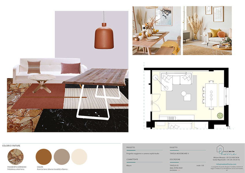 Moodboard soggiorno 2_Il soggiorno e lo studio dai Colori Caldi di Mauro