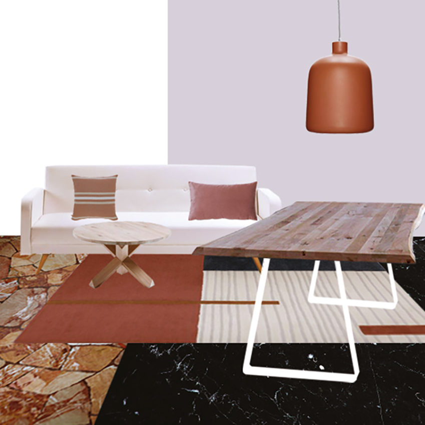 Collage soggiorno 2_Il soggiorno e lo studio dai Colori Caldi di Mauro