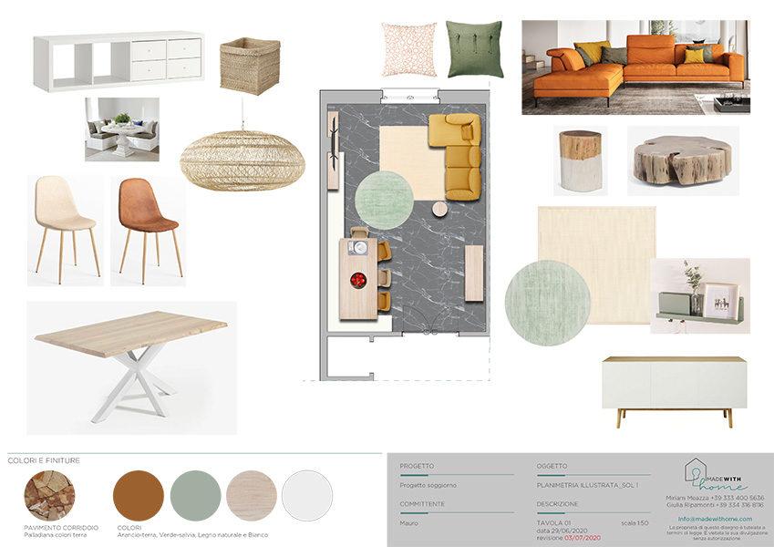 Moodboard planimetria soggiorno_Il soggiorno e lo studio dai Colori Caldi di Mauro