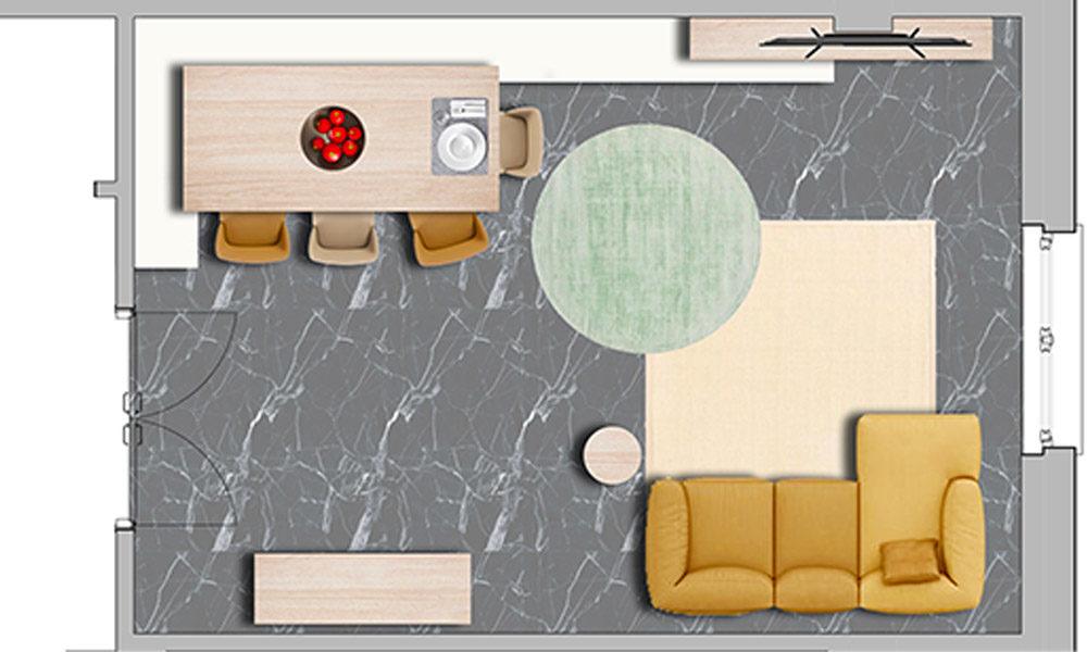 Planimetria illustrata soggiorno_Il soggiorno e lo studio dai Colori Caldi di Mauro