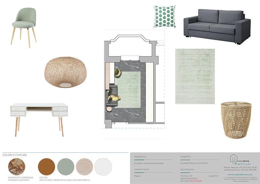 Moodboard planimetria studio_Il soggiorno e lo studio dai Colori Caldi di Mauro