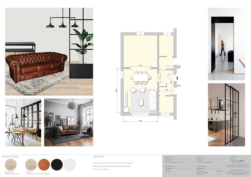 Moodboard 1_L'ingresso ed il soggiorno con dettagli Tortora di Stefano