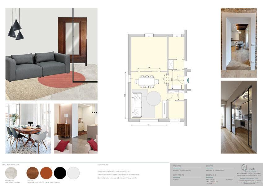 Moodboard 2_L'ingresso ed il soggiorno con dettagli Tortora di Stefano