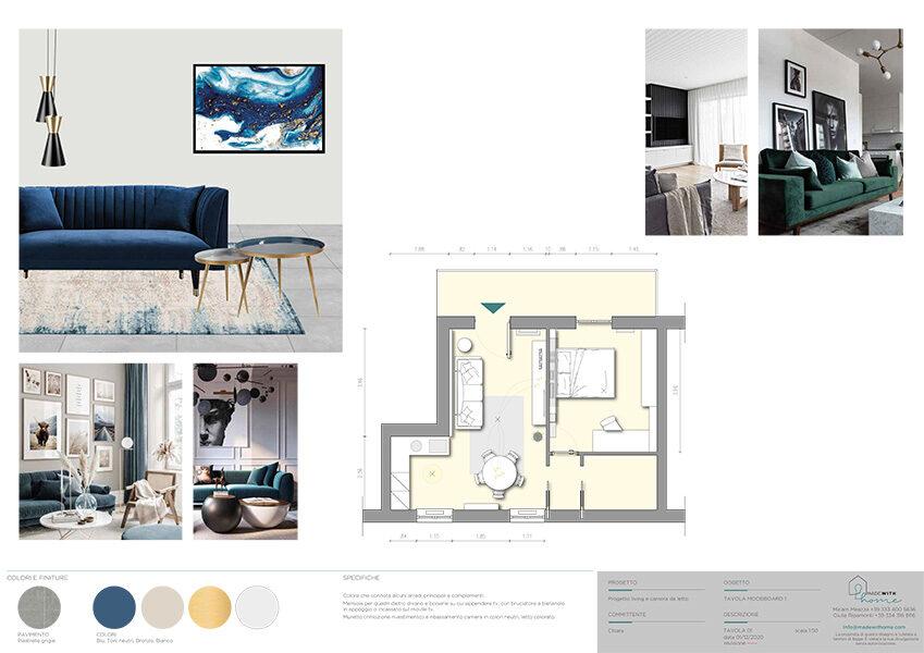 Moodboard 1_Il living e la camera dagli arredi verde Bosco di Chiara