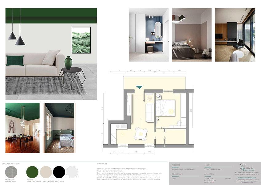 Moodboard 2_Il living e la camera dagli arredi verde Bosco di Chiara