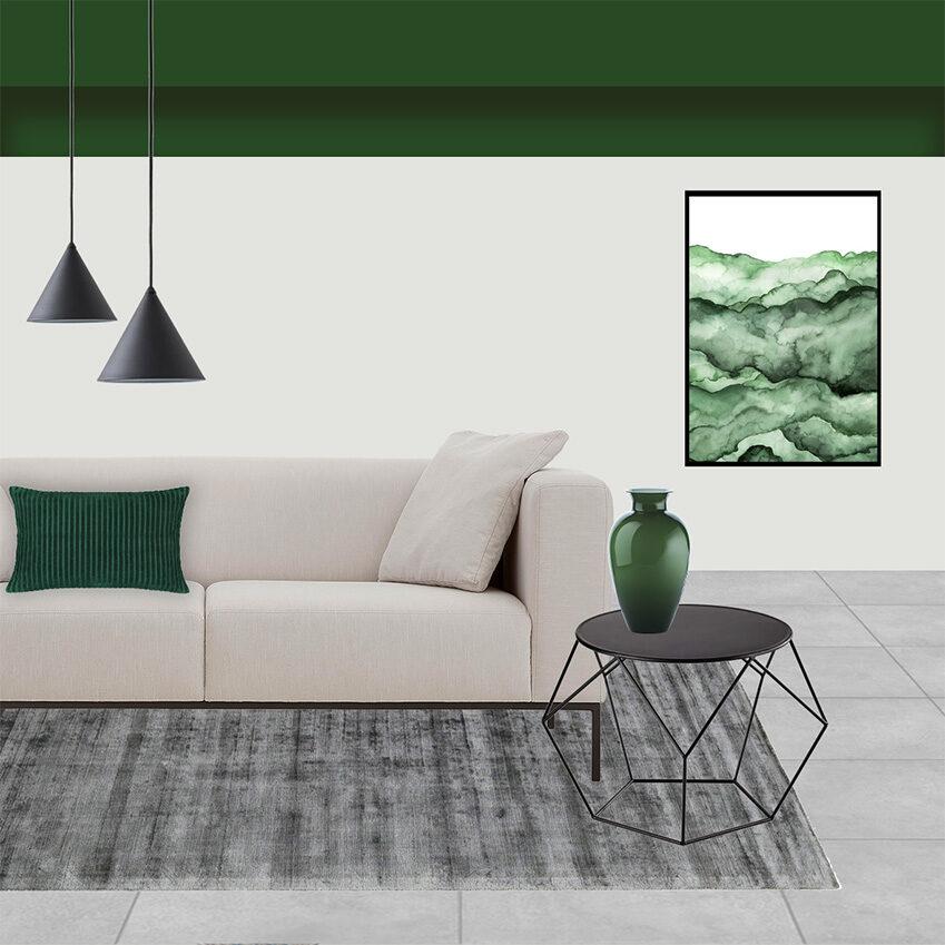Collage 2_Il living e la camera dagli arredi verde Bosco di Chiara